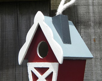 Small Decorative Handpainted Bird House - Red Country Barn