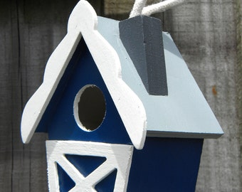 Small Decorative Handpainted Bird House - Blue Country Barn