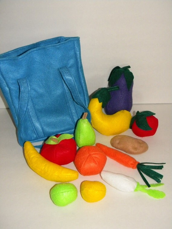 Produce Bag - Full Set of Felt Fruits and Vegetables