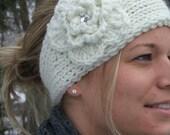 Knit ear warmer headband in winter white w/ crocheted flower