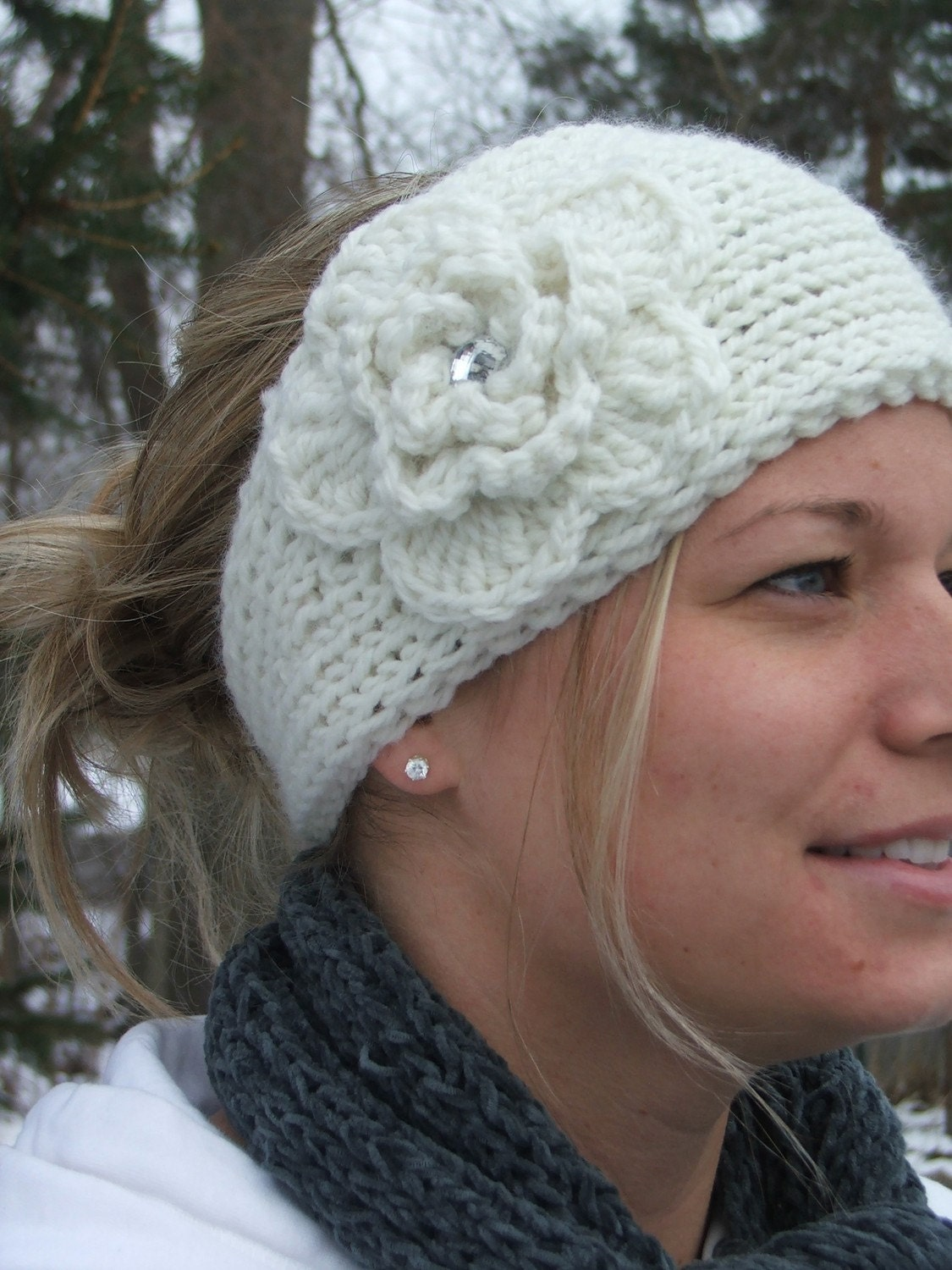 Knitting Patterns For Ear Warmers With Flower : Knit ear warmer headband in winter white w/ by ShopwithJoy ...
