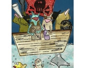Pirate Ship with the Gang looking for buried Treasure 8x10 print