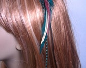 Feather Hair Extension Style Clip-Teal, Burgendy, Black and Cream READY TO SHIP