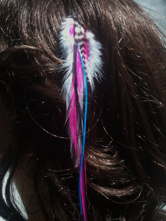BRIGHT and FUN Feather Hair Extension Clip-Pink,Blue,Black and White