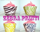 Cupcake Wrappers DIY, Zebra Print, Any Color