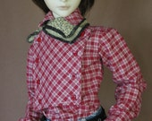 Red Plaid western Cavalry shirt for BJD Dollfie Sd13 boys sizes