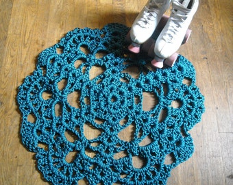 Doily Area Rug Round Crocheted Muslin 6 1 2 Ft By Glitterpony