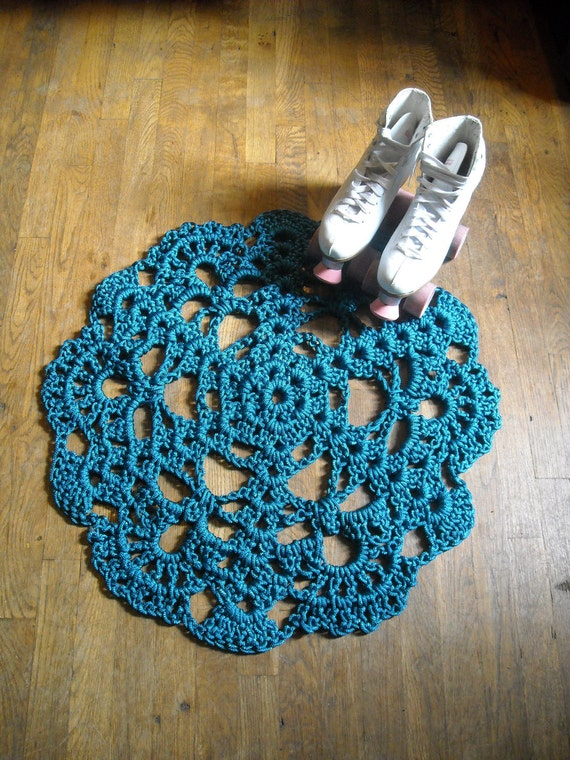 Upcycled Blue Teal Cyan Area Rug  Doily