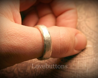 Men's Hammer Forged Wedding Band in Fine Silver