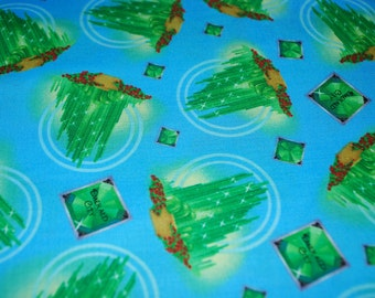Wizard of Oz Emerald City on Blue premium cotton fabric from Quilting Treasures OOP HTF- sold by the yard