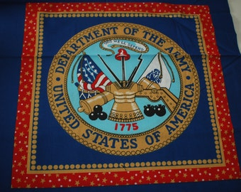 United States Army cotton fabric pillow panels - half yard