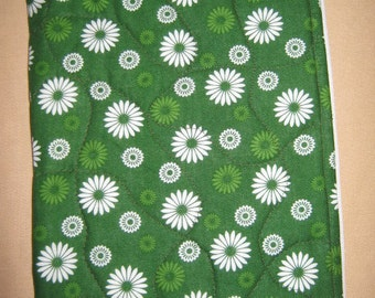 Nookcolor Nook Cover Green with White Flowers and internal pocket