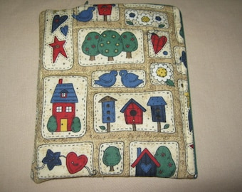 Nook Simple Touch Zippered device only cover country garden quilt print