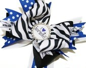 Zebra Print, Blue, Black, White and Polka Dot Custom Sports Team Large Stacked Boutique Hair Bow