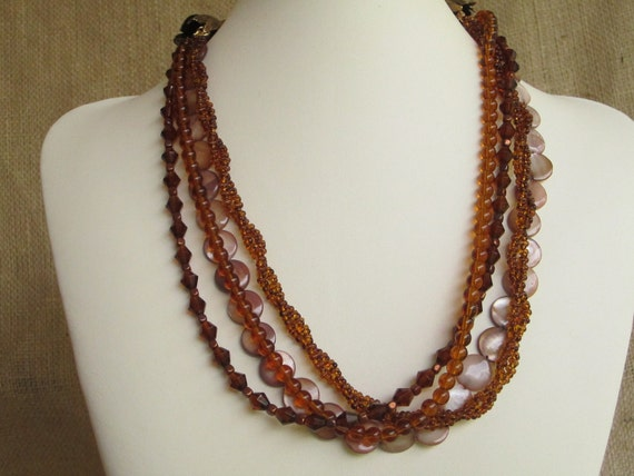Dark Topaz Beaded Strand for Convertible Necklace