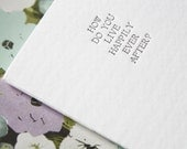 Happily Ever After Question book - Letterpressed guest book for the Reception, Rehearsal Dinner or Bridal Shower