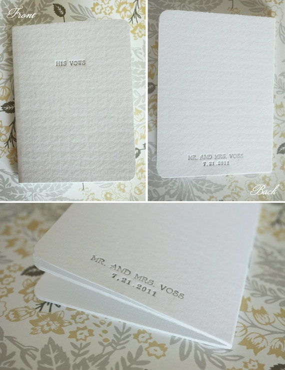 RESERVED Custom Letterpress Vow Booklets For Him and For Her, the Bride and Groom