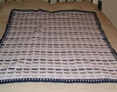 Crochet Afghan Navy, Gray, and White Crossed Stripes