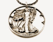 ON SALE // Vintage Silver Half Dollar Liberty Coin Necklace
