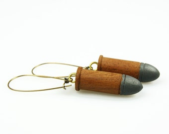 ON SALE // Wood Bullet with Brass Earrings