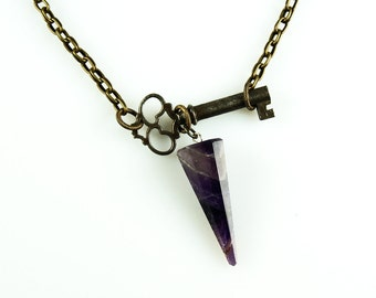 ON SALE // Antique Skeleton Key with AMETHYST Point Long Necklace