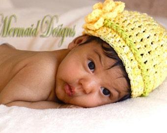 Crochet Baby hat Yellow- newborn to toddler size