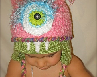 Pink monster hat for toddler or baby