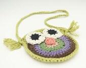 small crocheted owl purse