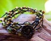 Bracelet Braided Waxed Irish Linen Green Czech Glass Bead Wrap