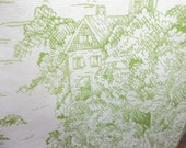 light green on white toile cotton tea towels