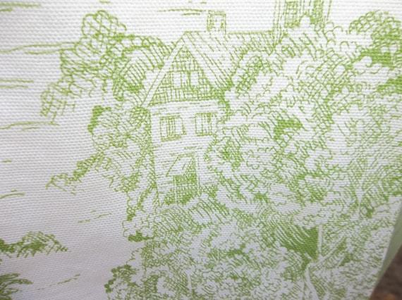 light green on white toile cotton tea towels