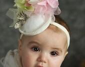 Easter Hat, Baby Girl Hat, Flower Girl, Spring, Easter, Tea Party mini fascinator hat, custom made