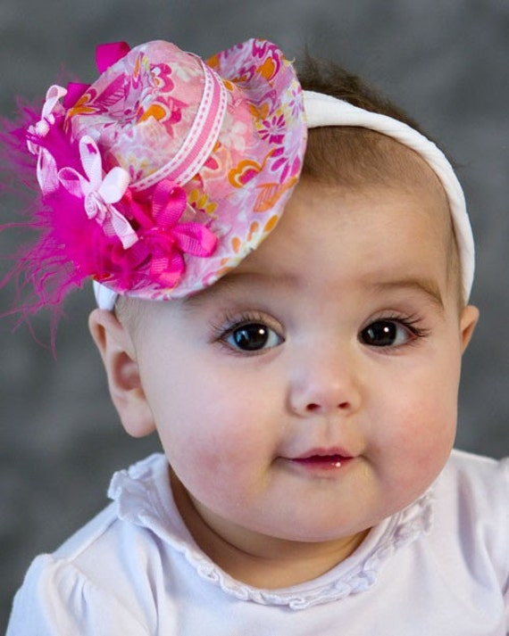 Pink Floral Mini Hat for newborns and little girls