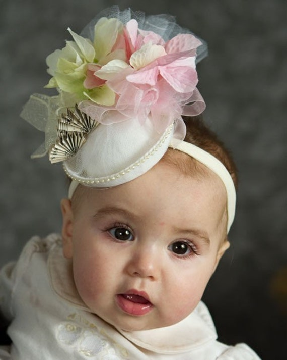 Easter Hat, Baby Girl Hat, Flower Girl, Spring, Easter, Tea Party mini fascinator hat, custom made
