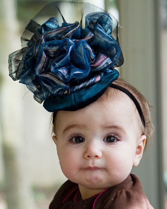 Upscaled Baby Couture Fascinator Hat, Dark Blue and Forest Green