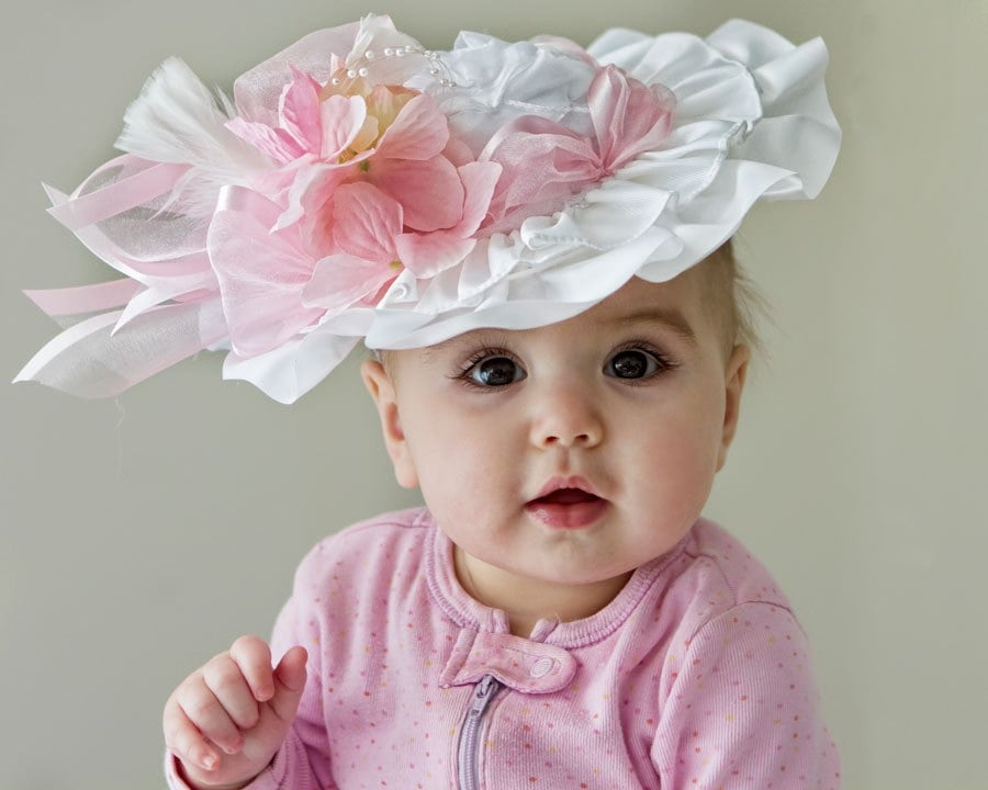 Baby Girl Hat Spring Easter Tea Party Frilly Hat by Amarmi