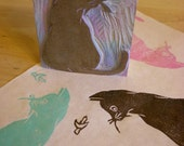 """A Black Cat and Moon- Hand Carved Stamp 3"""" x 4""""- Made to Order"""