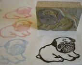 """Pug Dog Stamp Hand Carved Linoleum 2"""" x 3"""" Hand Carved - Made to Order"""