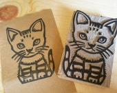 "A Cat Stamp - Hand Carved Linoleum block 2"" x 3""- Made to Order"