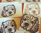 "Cocker Spaniel Puppy -Hand Carved Linoleum Stamp 2"" x 2""- Made to Order"
