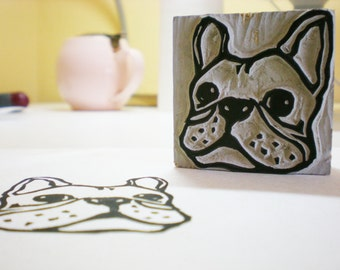 """French Bulldog Stamp - Hand Carved Linoleum 2"""" x 2""""- Made to Order"""