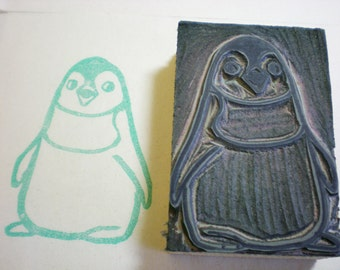 """Baby Penguin Stamp - Hand Carved Linoleum Block 2"""" x 3"""" - Made to Order"""