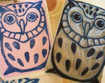 "Owl Stamp - Hand Carved linoleum 2"" x 3"" - Made to Order"