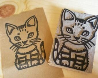 "A Cat Stamp - Linoleum block stamp 2"" x 3""- Made to Order"