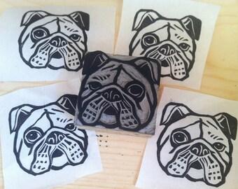"A Bulldog Stamp - 2"" x 2"" hand carved linoleum block stamp - Made to Order"