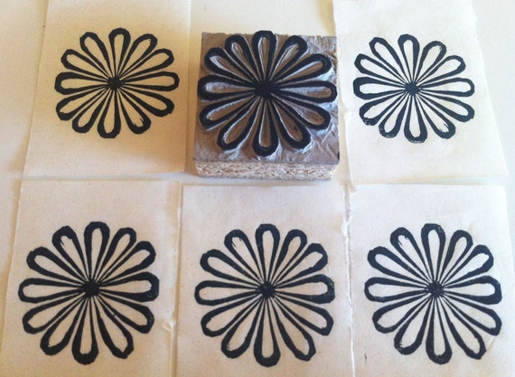 Retro flower stamp hand carved linoleum quot x made to