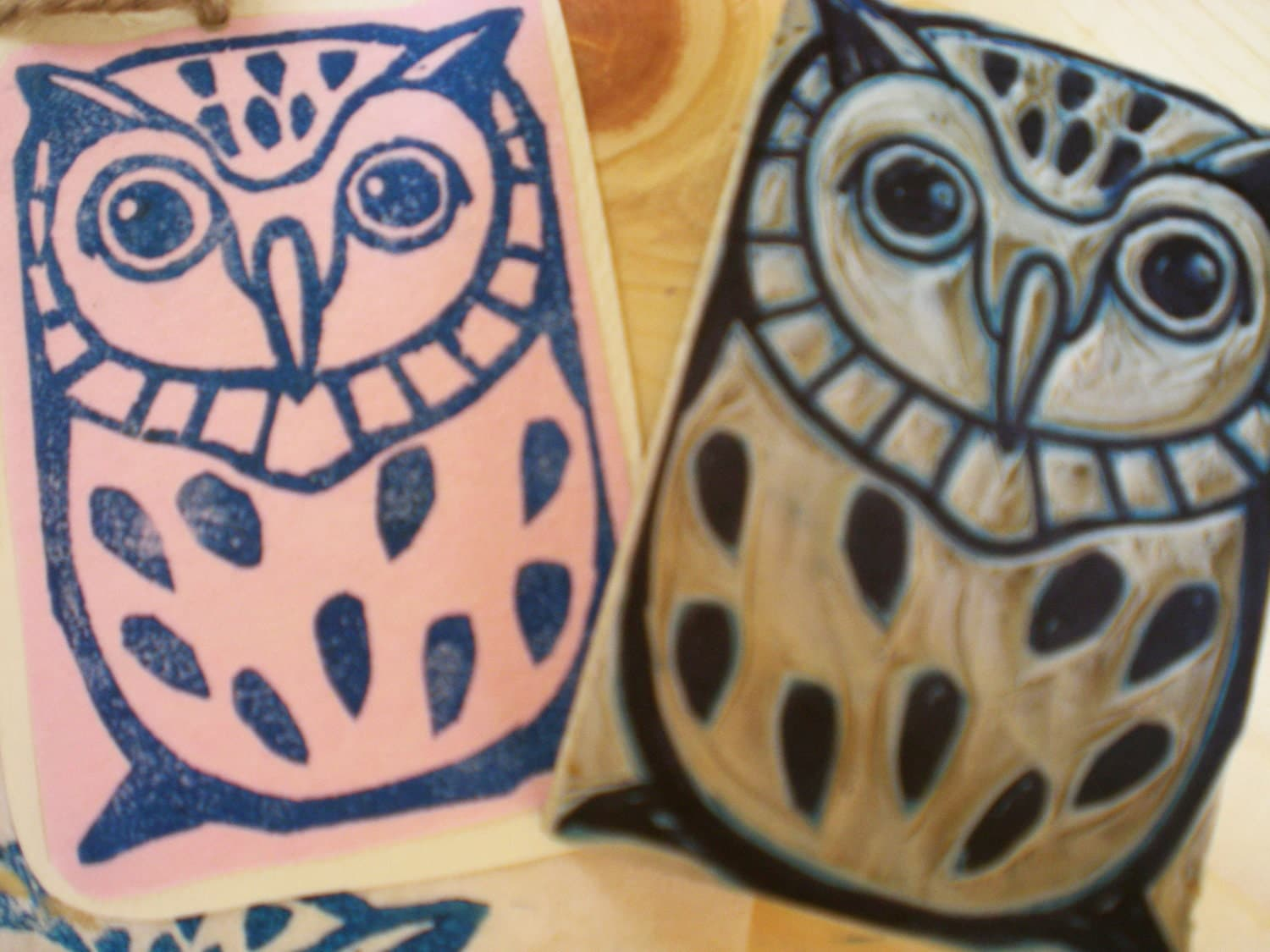 Items similar to owl stamp hand carved linoleum quot