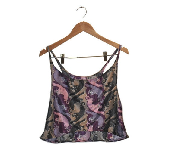 70s Purple Poly Panther Crop Top M