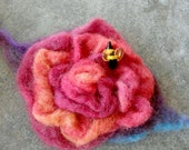 PAINTED FELT ROSE Buzz DoilyDarlings Crimson Wool Rose with Felted Foliage,Lampwork Glass Bee Bead Brooch
