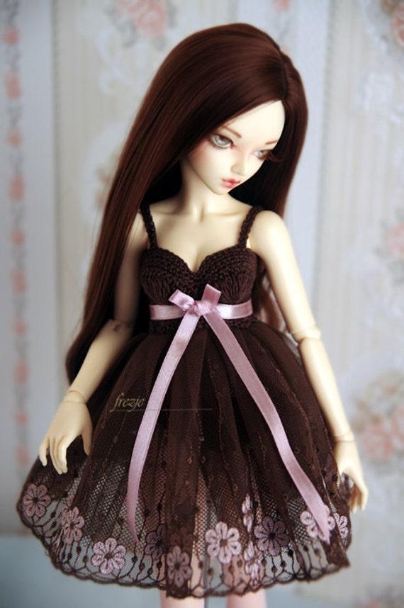 Brown & pink dress for slim bjd MSD Minifee Souldoll, Dollzone, Unoa